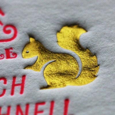 Weihnachtskarte auf 850g Römerturm Wild Letterpress