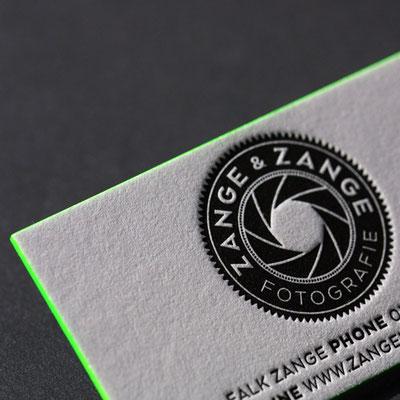 Visitenkarte Letterpress mit Farbschnitt