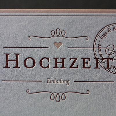 Hochzeitskarte Letterpress