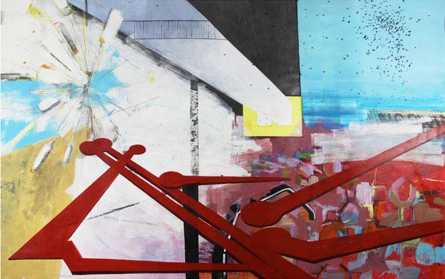 INTRO  I  acryl, tusche, kreide u. m. auf hahnemühle karton  I  200 x 132 cm