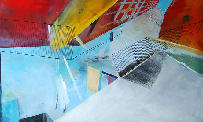 GET OUT   I   acryl, tusche, kreide u. m. auf hahnemühle karton  I  200 x 120 cm