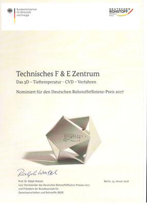 Urkunde der Nominierung für den Deutschen Rohstoffeffizienz-Preis 2017