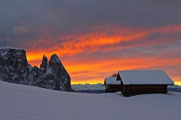 Sonnenuntergang auf der Seiser Alm