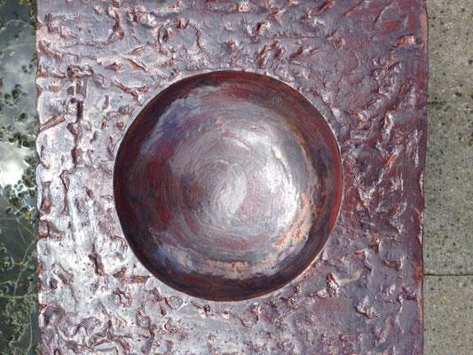 Vogeldrinkbak, 33 x 33x 23 cm, rode chamotteklei 0-2 mm, glazuurbrand 1060`C