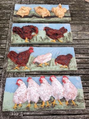 4 kippentegels, 32 x 13 cm, rode chamotteklei 0-2 mm, glazuurbrand 1060`C