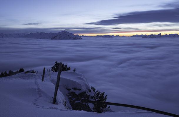 Nebelmeer Niederhorn zur Blauen Stunde - Berner Oberland