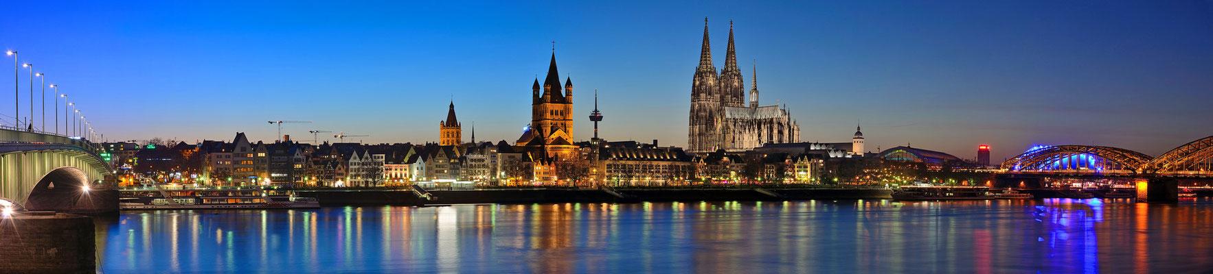 140° - Rheinufer in Köln - Deutzer Brücke - Kirche Gross St. Martin - Dom - Hohenzollernbrücke