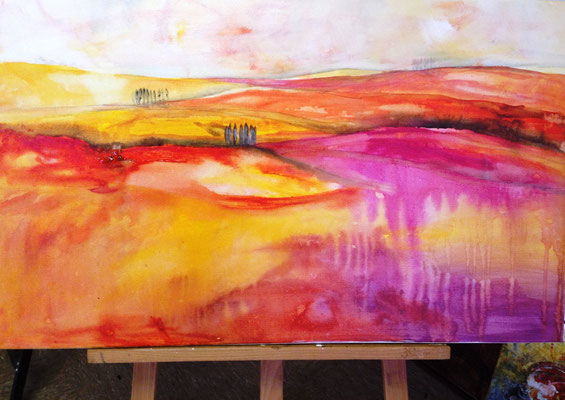 Landscape, magenta-orange, klein