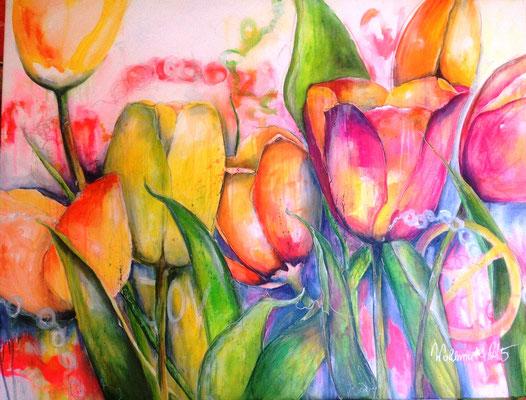 happy tulips, 130x100