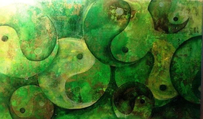 Yin Yang, grün, 124x74