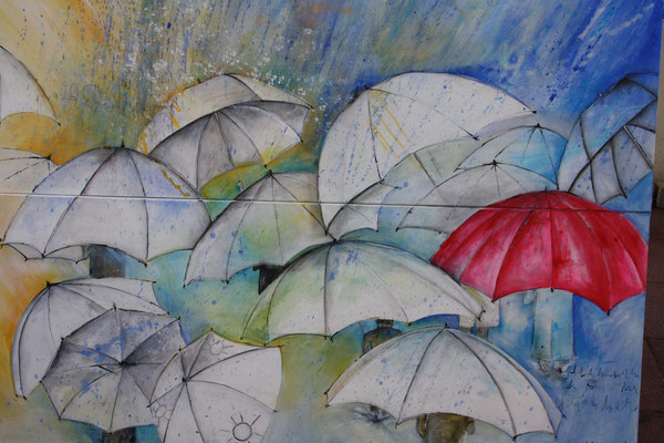 Diptychon, the red umbrella loves rain, ca. 200x150