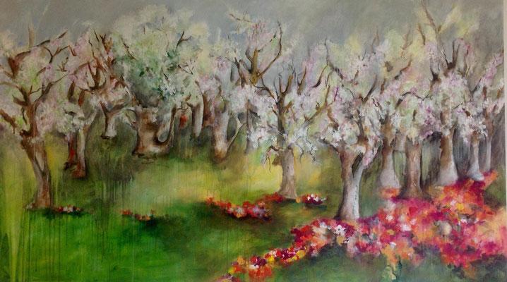 Bäume im Frühling, 80x140