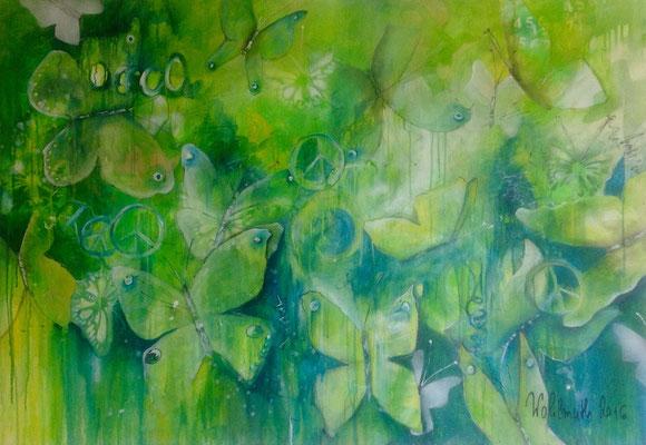 Schmetterlinge - grün, 130x90