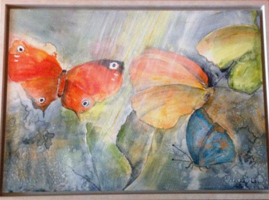 Schmetterlinge auf Holzplatte, Aquarell- Acrylmischtechnik, 75x55
