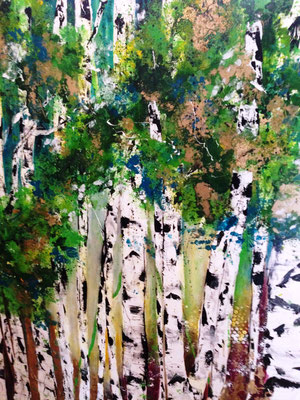 Birkenwald auf Silber, 151x119