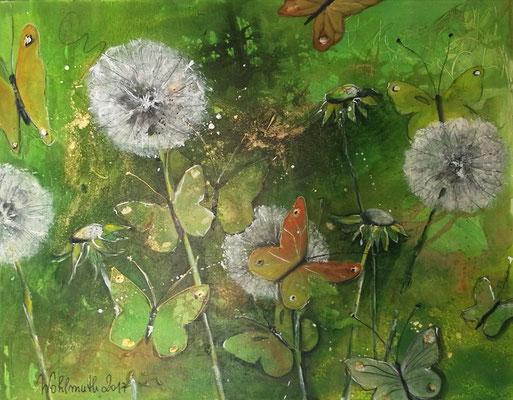 Pusteblumen & Schmetterlinge 80x70