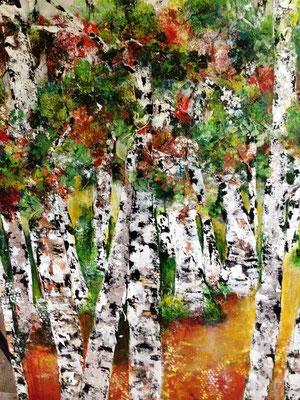 Birkenwald auf Gold, 151x119