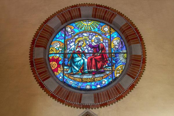Rosone transetto laterale incoronazione di Maria