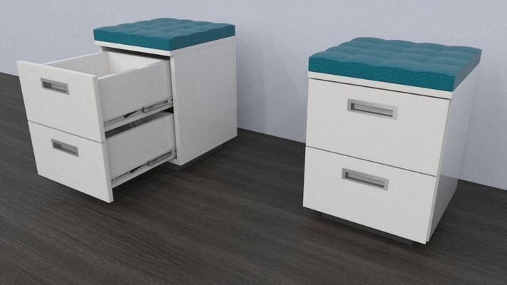 Puff para mueble pedicure con cajones