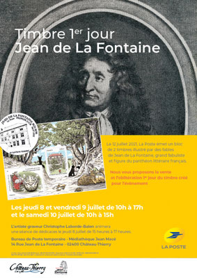 Vente du timbre 1er jour Jean de La Fontaine