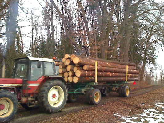 Traktor mit Langholzwagen