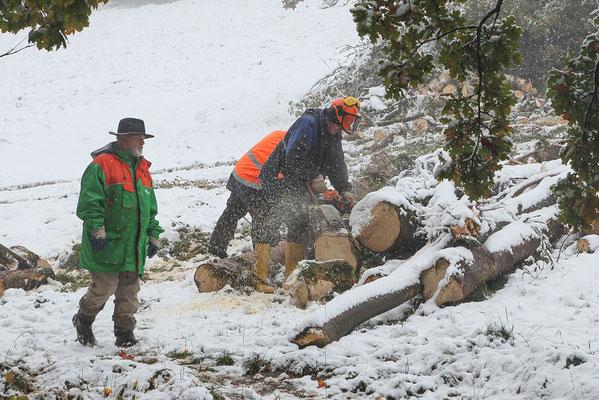 Die Arbeiten werden trotz Schnee weitergeführt.