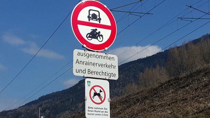 Fahrverbot im Bereich Sportplatz bis Fa. Föger