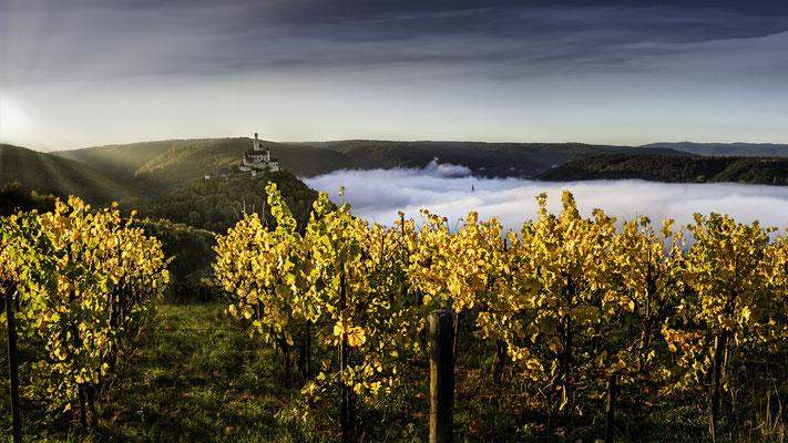 Rheinsteig mit Blick auf die Marksburg im Herbst