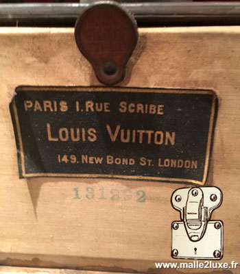 old Louis Vuitton trunk label scribe