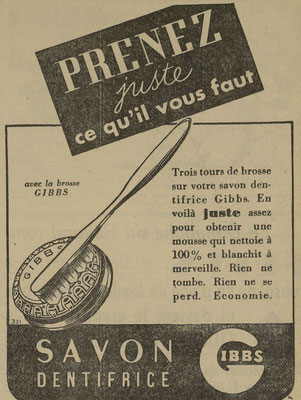 Dentifrice Gibbs - journal l'Echos de Nancy du 29 septembre 1941