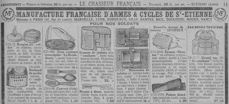 Extrait du catalogue de la Manufacture de St-Etienne - magazine le chasseur français de mai 1940