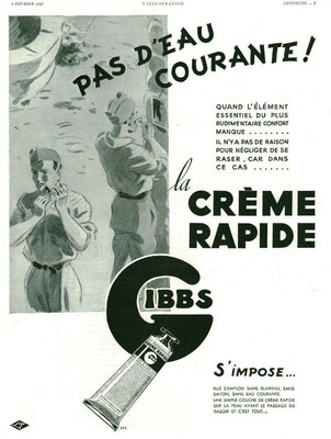 Crème à raser Gibbs - magazine l'Illustration du 3 février 1940