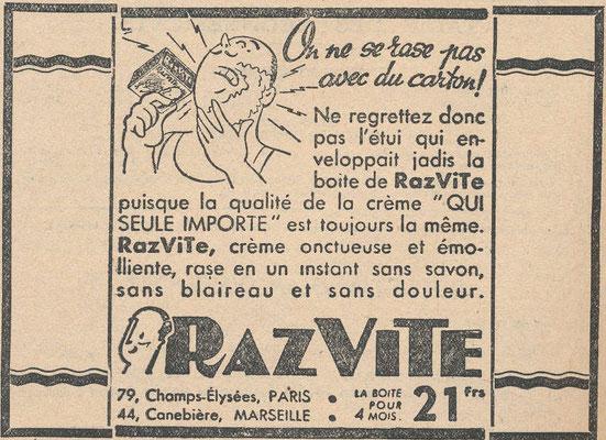 Crème à raser razvite - magazine Science et Vie de novembre 1942