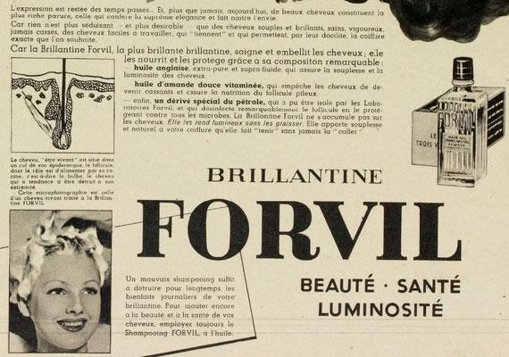 Brillantine Forvil - magazine Marie-Claire du 10 mai 1940