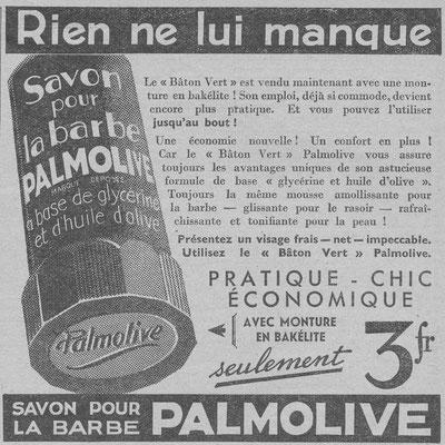 Savon à barbe Palmolive - magazine Chasseur français de février 1936