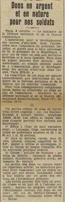 Les dons pour les soldats - journal le Télégramme des Vosges du 4 octobre 1939