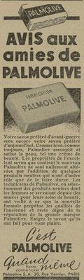 Savon Palmolive - journal l'Echos de Nancy du 2 août 1941