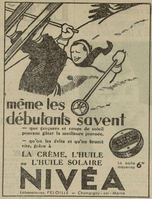 Crème Nivéa - journal l'Est Républicain du 28 janvier 1937