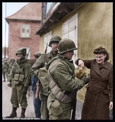 Moment de répit pour ces GI de la 79th ID, Drusenheim, 6 janvier 1945