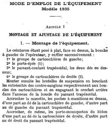 Extrait de la notice provisoire du 22 janvier 1937 sur l'équipement modèle 1935 - Source Galica