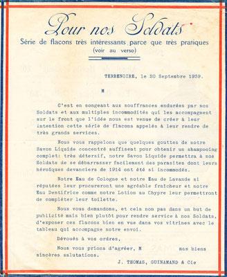 Lettre commerciale destinée aux revendeurs des produits de la marque Etoile - Septembre 1939