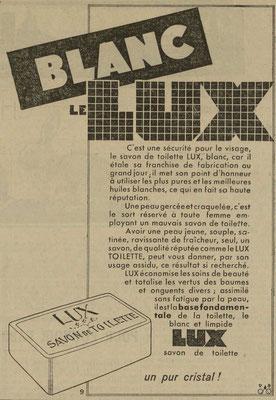 Savon Lux - journal l'Est Républicain du 21 novembre 1933