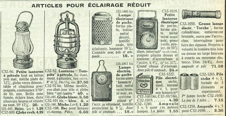 """Extrait du catalogue de la """"manufacture française d'armes et cycles de Saint-Étienne"""" de 1939"""
