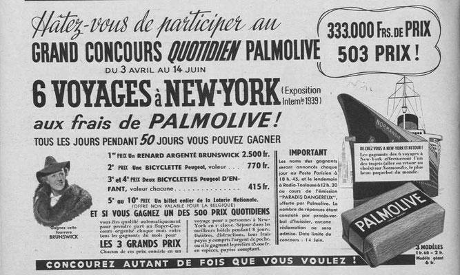 Savon Palmolive - magazine Marie-Claire du 12 mai 1939