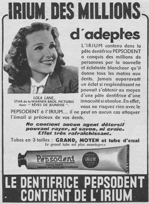 Dentifrice Pepsodent - magazine Marie-Claire du 12 mai 1939