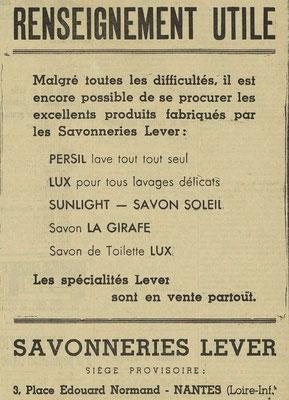 Les premières difficultés du groupe Lever - journal l'Express de l'Est du 21 octobre 1939