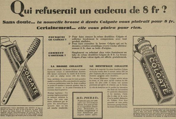 Dentifrice et brosse à dents Colgate - journal l'Est Républicain d'août 1930