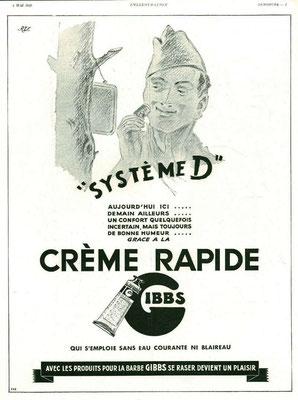 Crème à raser Gibbs - magazine l'Illustration du 4 mai 1940