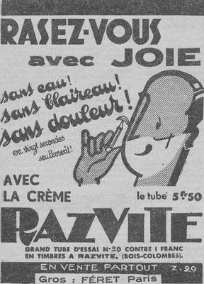 Crème Razvite  - magazine Chasseur français de février 1934