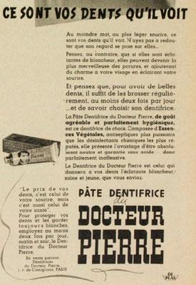 Dentifrice du  docteur Pierre - magazine Marie-Claire du 10 mai 1940